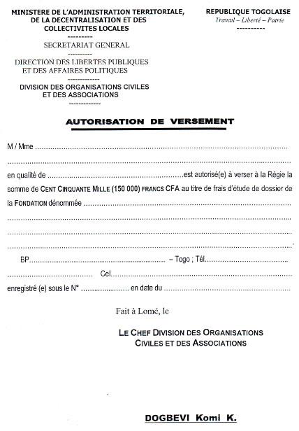 autorisation de versement sur le compte dun tiers