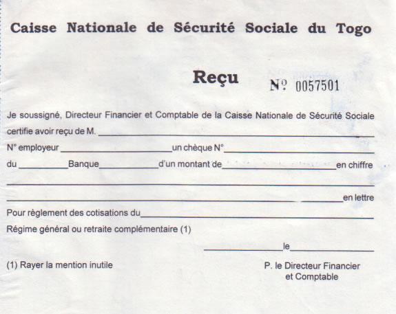 GRATUITEMENT DE COTISATION BORDEREAU TÉLÉCHARGER PAIEMENT DE CNSS
