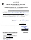 Demande de liquidation de pension